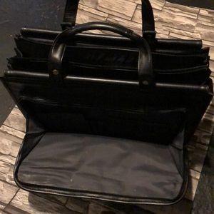 Beautiful black leather laptop bag